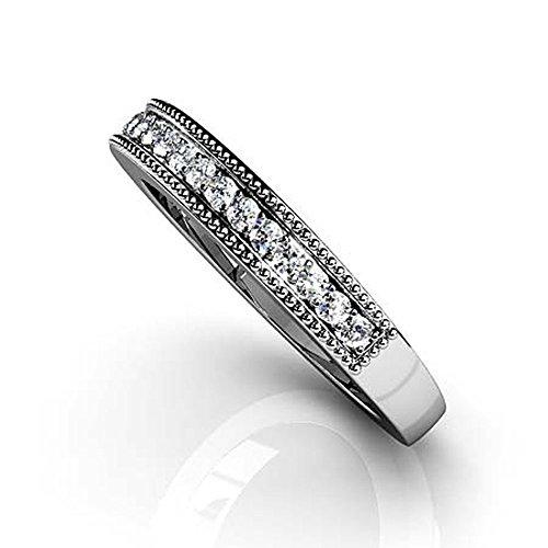 Or blanc 14K milgrain en diamant