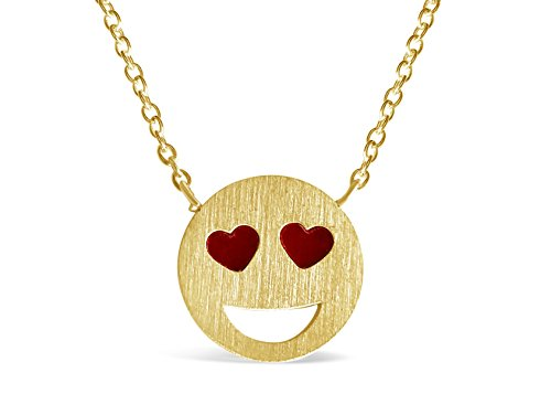 Rosa Vila Heart Eyes Emoji Necklace - Emoji Inspired Necklaces - Funny Yet Meaningful Emoji Jewelry for Women (Gold Tone) (Novelty Necklaces)