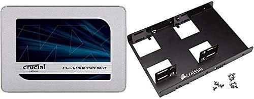 Crucial MX500 1TB three-D NAND SATA 2.5 Inch Internal SSD - CT1000MX500SSD1, Blue/Gray Bundle with Corsair Dual SSD Mounting Bracket 3.5percent22 CSSD-BRKT2,Black