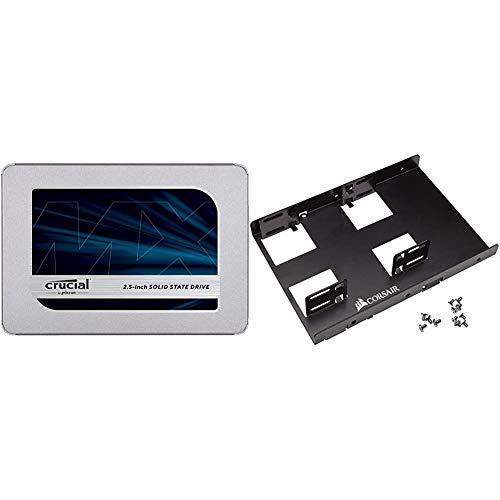 Crucial MX500 1TB 3D NAND SATA 2.5 Inch Internal SSD - CT1000MX500SSD1, Blue/Gray Bundle with Corsair Dual SSD Mounting Bracket 3.5%22 CSSD-BRKT2,Black
