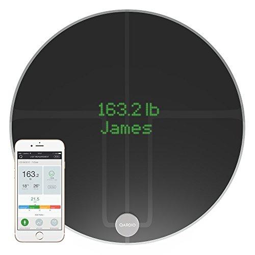 (QardioBase 2 Wireless Smart Scale and Body Analyzer - Volcanic Black)