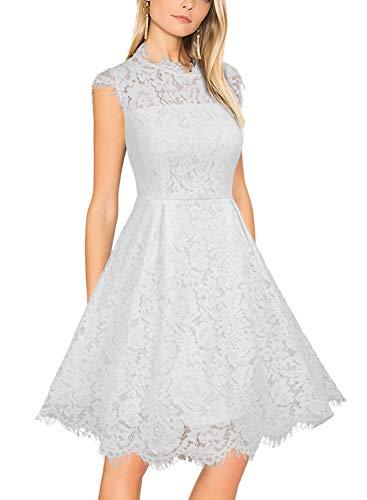 WOOSUNZE Women's Sleeveless Crew Neck Lace Floral Elegant Cocktail Party Swing Dress White, XL ()