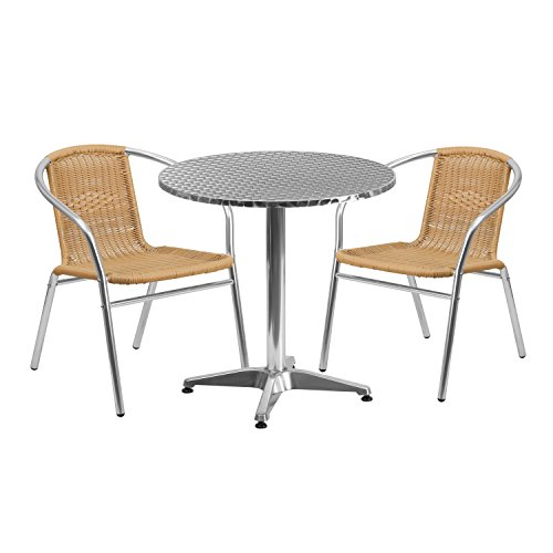 """Flash Furniture 27.5"""" Round Aluminum Indoor-Outdoor Table Set with 2 Beige Rattan Chairs Review"""