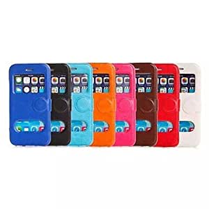 GJY Solid Color PU Leather Cover with View Window for iPhone 6 (Assorted Colors) , Black