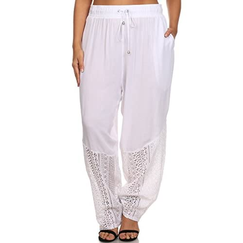 a02a90db386a Hadari Women s Plus Size Casual Elastic Crochet Lace Hem Harem Pants good