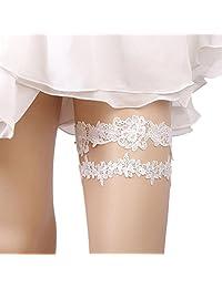 Telamee 2018 Handmade Rhinstones Lace Wedding Garters for Bride Garter Set 2 Pcs
