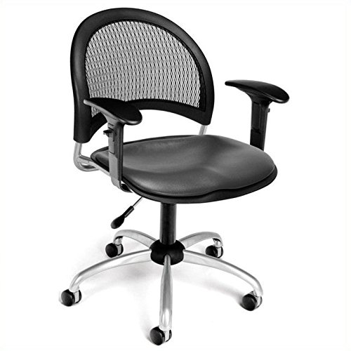 OFM 336-VAM-AA3-604 Moon Swivel Vinyl Chair with Arms, Charcoal (Vinyl Vam 604 Charcoal)