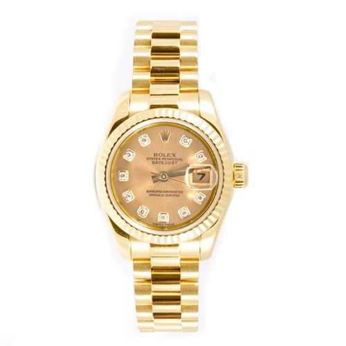 Rolex Ladys President New Style Heavy Band 18k Yellow Gold Model 179178 Fluted Bezel Champagne Diamond Dial 18k Fluted
