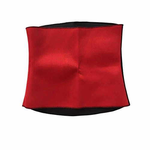 Hot Tummy Belt Waist Slimming Fitness Trimmer Girdle Sport Shirt Body Shaper (L, BLACK+RED)