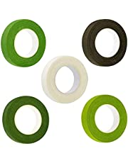 5 Colors Floral Tapes for Florist Making Beautiful Bouquet Arrangement, Wedding Wreath and Other Diy Crafts Flower Adhesives Stem Wrap Tape (dark Green, Medium Green, Light Green, Coffee, White)