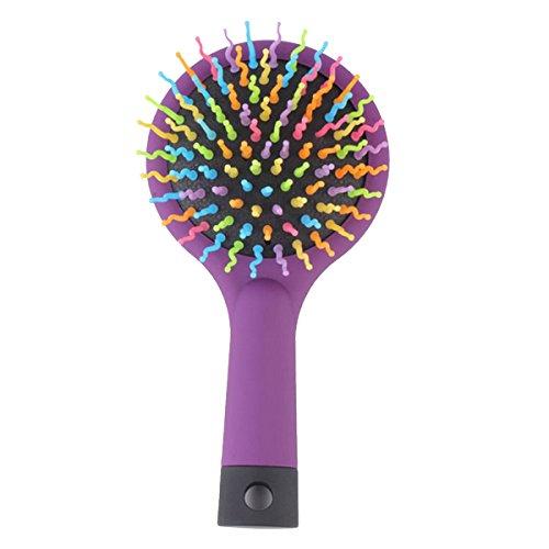 Butterme Neue Regenbogen -Band Magic Hair-Bürsten-Kamm Styling Werkzeuge Haarbürste Anti Tangle Anti-Statik-Haar-Massage mit Spiegel-Set