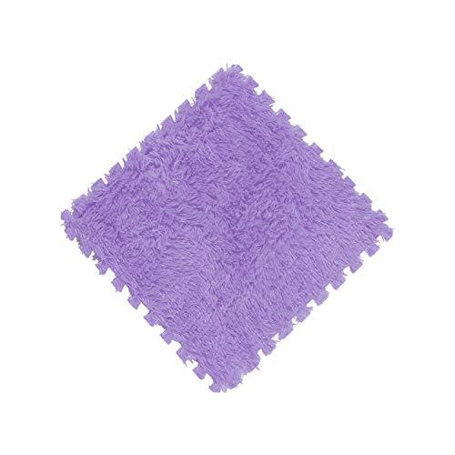 1pcs 30x30CM EVA Foam DIY Puzzle Mat Super Soft Long Hair Villi Shaggy Carpet Mat Plush Soft Area Rug Children Baby Playmat,Purple,30x30cm ()