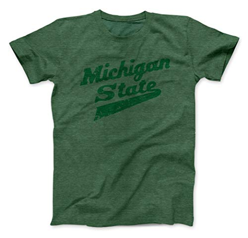Nudge Printing Michigan State University Spartans MSU Hockey Script Logo Green on Green T-Shirt (Small)