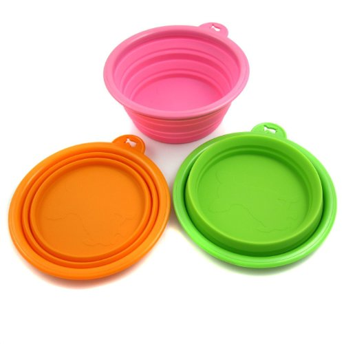 Alfie Pet by Petoga Couture – Set of 3 Ros Silicone Pet Expandable/Collapsible Travel Bowl – Size: 1.5 Cups, My Pet Supplies