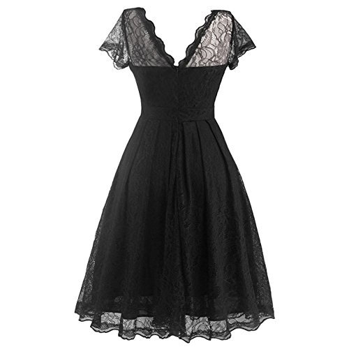 Floral Dress DAROJ Vintage Swing Black Lace Women Capshoulder Party Elegant Cocktail 44zxZwtg