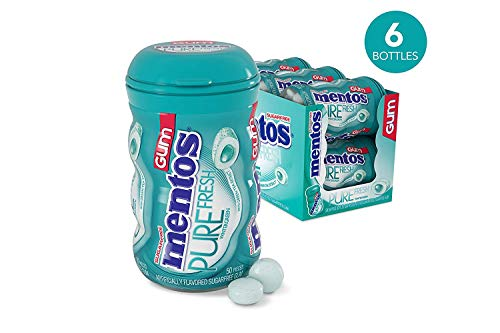 Mentos Pure Fresh Sugar-Free Chewing Gum with Xylitol, Wintergreen, 50 Piece Bottle (Pack of 6) ()