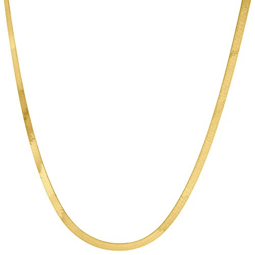 10K Yellow Gold 2.75mm Silky Herringbone Chain Necklace Lobster Clasp, 18 Inches