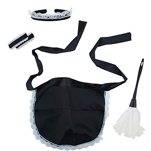 Lux Accessories Black White Naughty Cleaning Lady Cosplay
