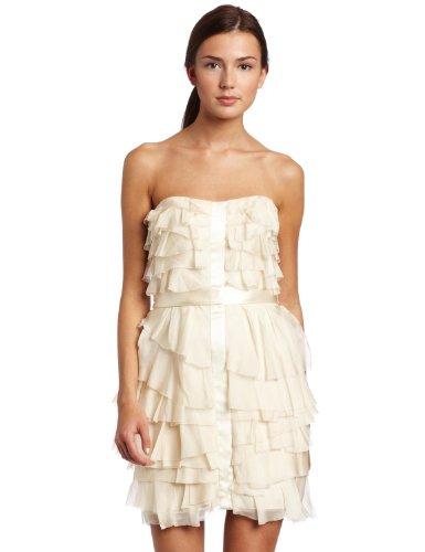 ABS Allen Schwartz Women's Multi-Tiered Strapless Dress With Contrast, Vintage Vanilla, (Abs Silk Dresses)