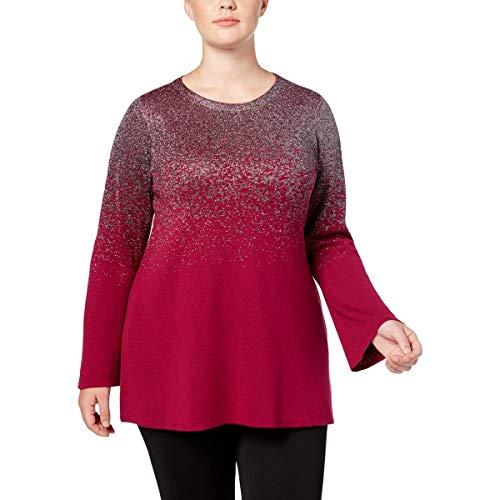 Alfani Womens Plus Metallic Jewel Neck Tunic Sweater Pink ()