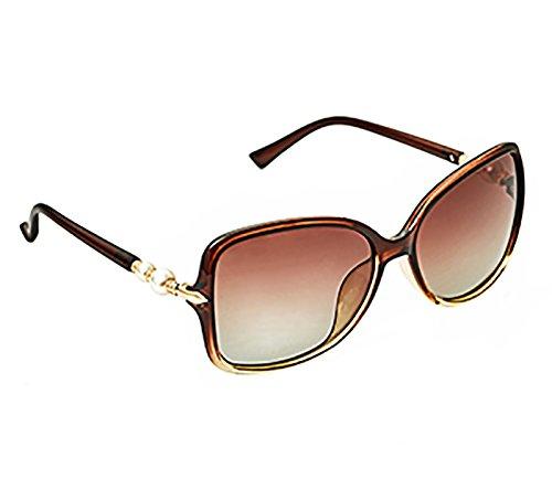 De sol La De Larga Gafas Color Redonda BSNOWF Anti Gafas Cara de Cara Eye Polarizadas Hembra Marrón Luz Vendimia UV Marrón 75wfS4Oq