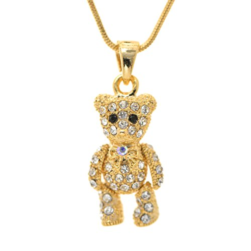 SpinningDaisy Cuddly Crystal Moveable Teddy Bear Necklace Gold