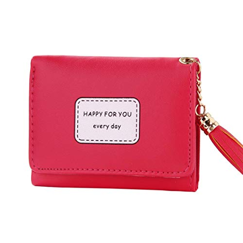 Womens Short Wallet Tassel PU HAPPY FOR YOU EVERYDAY Printed ID Card Case Gift (Hot Pink) ()