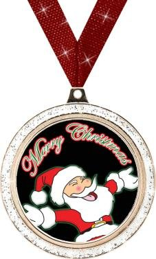 CHRISTMAS MEDALS - 2'' Silver Glitter Santa Medal 50 Pack by Crown Awards