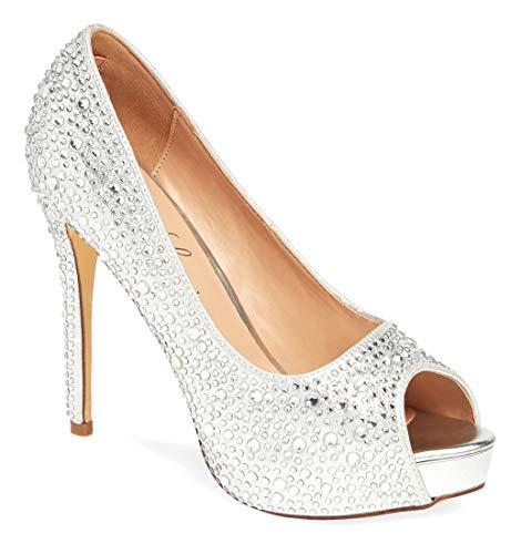 Lauren Lorraine Candy 6 Silver Glistening Peep Toe Stiletto Heeled Sandals (Silver, 8)