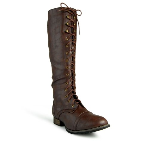 Amazon.com | Breckelle's Outlaw Women's Lace Up Knee High Riding ...