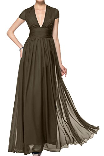 ivyd ressing Mujer corta aermel V de pico largo línea A Prom vestido Fiesta Vestido para vestido de noche marrón
