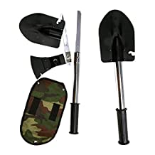 Ezyoutdoor Four in One Multifunction Shovel Self-defense Tool Outdoor Camping Hatchet Saws with Life Warranty