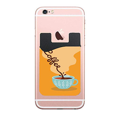 CardlyPhCardH Boho Cup Filling Coffee Aroma Caffeine Espresso Artistic Illustration Credit Card Double Secure Holder Stick on Wallet ID Holder Card Sleeves 2 PCS
