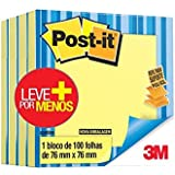 Bloco de Notas Adesivas, Post-it, Refil para Sistema Puxa-Fácil/Pop-Up, 76x76mm, 4 Pacotes de 100 Folhas, Amarelo
