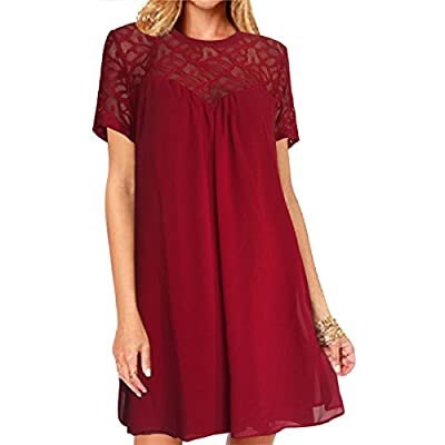 vanberfia Women's Lace Loose Casual Chiffon Dress
