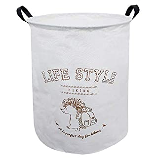 ASKETAM Laundry Basket,Canvas Fabric Laundry Hamper,Dirty Clothes Storage Bin,Collapsible Toy Organizer for Office,Bedroom, Clothes,Toys,Gift Basket (Hedgehog)