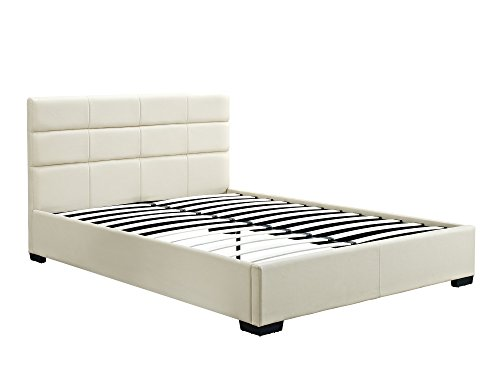 DHP 5546298 Complete with Headboard/Footboard/Slats Modena Upholstered Bed, Queen, Off-White