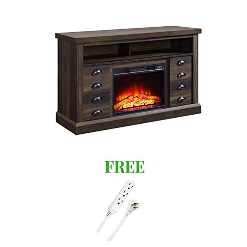 (Better Homes and Gardens- Fireplace Media Console Television Stand (Aged Brown Ash) with Free)