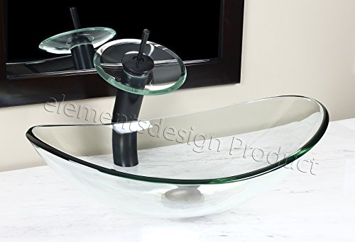 Bathroom clear boat oval Glass Vessel Vanity Sink TB15E4 Oil Rubbed Bronze Waterfall Faucet
