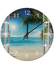 Blue Ocean Sea Beach and Tree Wood Clock 12×12 inch Wedding Gift