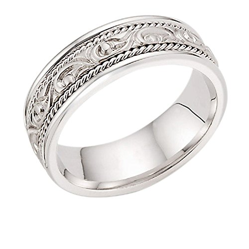 Platinum Paisley Sculpted Wedding Band Ring - Size 12 ½