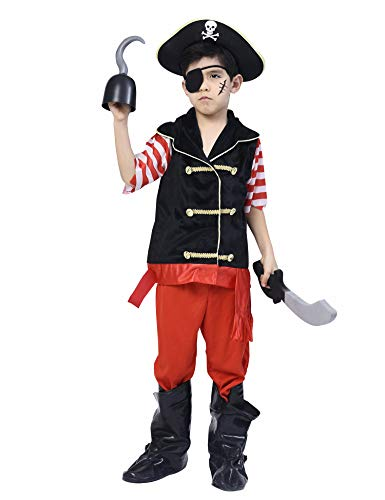 Pirate Costume for Boys, Deluxe Buccaneer Outfit with Captain Hat (5pcs Set) 9-10Y
