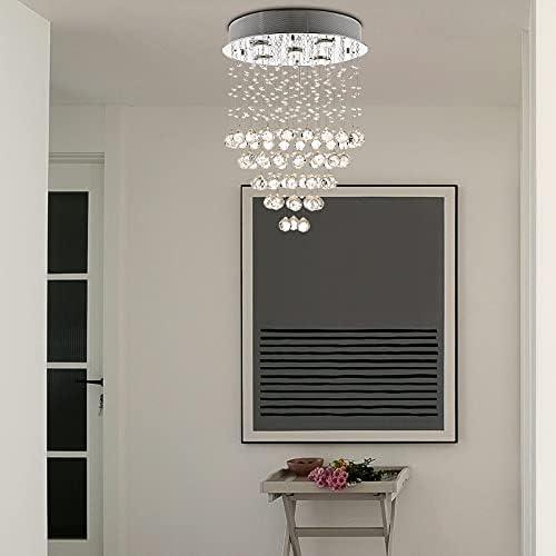 Modern K9 Crystal Raindrop Chandelier Lighting 5 Lights Flush Mount LED Ceiling Light Fixture,W18.1″ x H24.8″Pendant Lamp