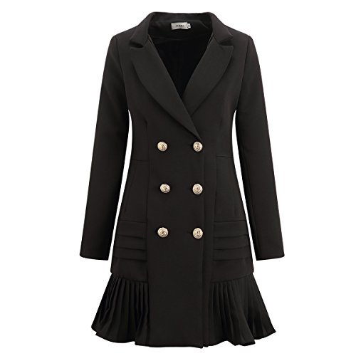 AOMEI Blazer Dress for Office Lady with Pleated Button (Tuxedo Dress Womens)