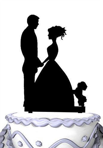 - Meijiafei Bride and Groom with Maltese Dog Silhouette Wedding Cake Decoration