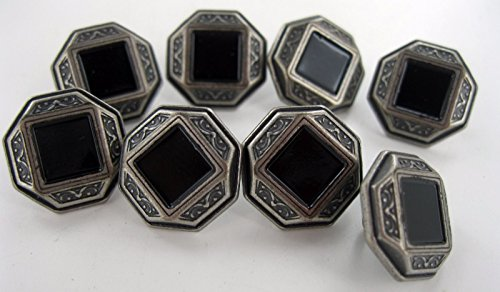 Stone Button - 8 pieces Octagon Metal Buttons with Black Stone in Center 1/2