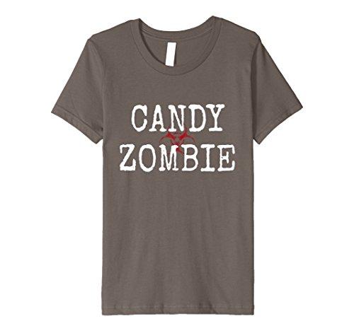 Girls Zombie Costume Ideas (Kids Vintage Candy Zombie Hunter T-Shirt Scary Costume Halloween 8 Asphalt)