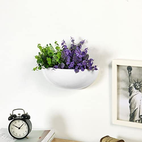 MyGift 12-Inch Ceramic Half-Moon Wall Mounted Flower Planter Vase Set of 2