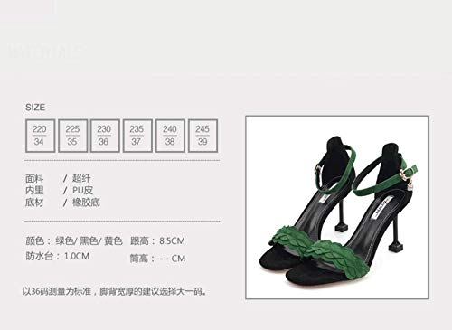 Sandals 9Cm Joker GTVERNH Sandals Heels And Cat Fashion shoes With High women's Summer Toes yellow Small Cat nw1wgq0