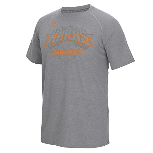 NBA New York Knicks Men's Long Shot Climalite Ultimate Short Sleeve Tee, Large, Gray (Practice Mens Short Sleeve Tee)